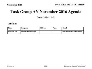 Task Group AY November 2016 Agenda
