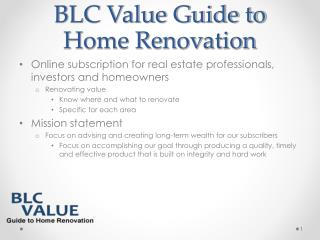 BLC Value Guide to Home Renovation