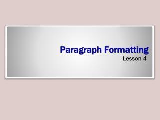 Paragraph Formatting