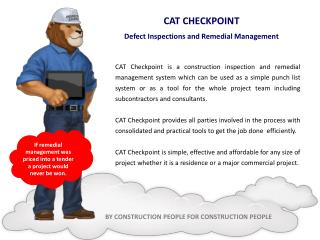 CAT CHECKPOINT Defect Inspections and Remedial Management