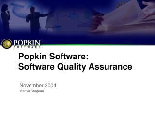 Popkin Software: Software Quality Assurance