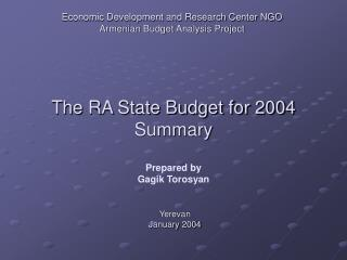 Economic Development and Research Center NGO Armenian Budget Analysis Project
