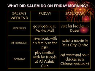 WHAT DID SALEM DO ON FRIDAY MORNING?