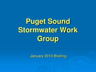 Puget Sound Stormwater Work Group
