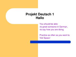Projekt Deutsch 1 Hallo