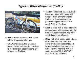 Types of Bikes Allowed on TheBus