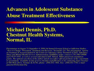 Advances in Adolescent Substance Abuse Treatment Effectiveness