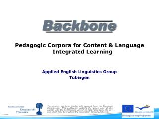 Pedagogic Corpora for Content & Language Integrated Learning  Applied English  Linguistics  Group