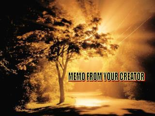 MEMO FROM YOUR CREATOR