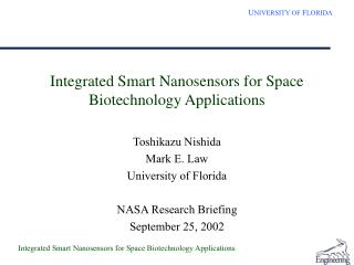 Integrated Smart Nanosensors for Space Biotechnology Applications
