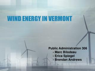 WIND ENERGY IN VERMONT