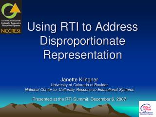 Using RTI to Address Disproportionate Representation