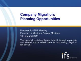 Company Migration: Planning Opportunities