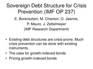 Sovereign Debt Structure for Crisis Prevention (IMF OP 237)