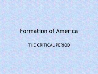 Formation of America