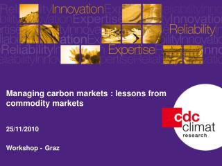 Managing carbon markets : lessons from commodity markets 25/11/2010 Workshop  - Graz