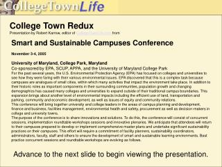 College Town Redux Presentation by Robert Karrow, editor of  CollegeTownLife  from