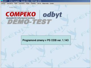 Programov é  zmeny  v PS  ODB ver. 1.143