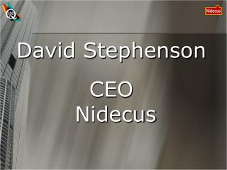 David Stephenson CEO Nidecus