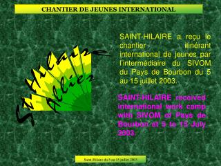 CHANTIER DE JEUNES INTERNATIONAL