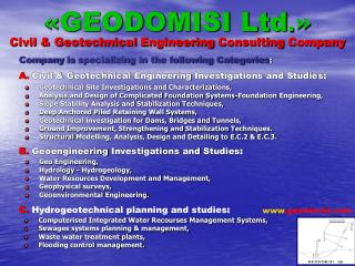 « GEODOMISI Ltd .» Civil & G eotechnical Engineering Consulting Company