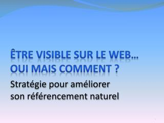 Être visible sur le Web… Oui mais comment ?