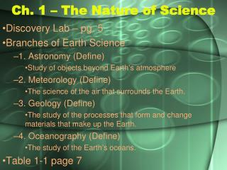 Ch. 1 – The Nature of Science