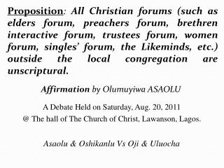 Affirmation  by Olumuyiwa ASAOLU