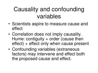 Causality and confounding variables