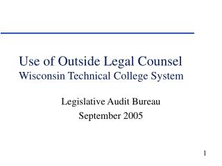 Use of Outside Legal Counsel  Wisconsin Technical College System