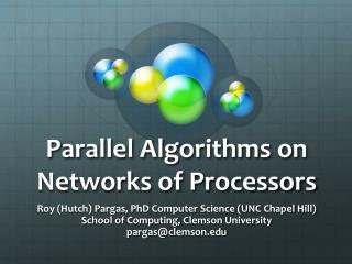 Parallel Algorithms on Networks of Processors