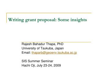 Writing grant proposal:  Some insights