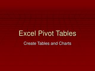 Excel Pivot Tables