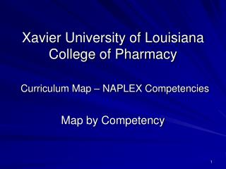 Xavier University of Louisiana College of Pharmacy Curriculum Map – NAPLEX Competencies