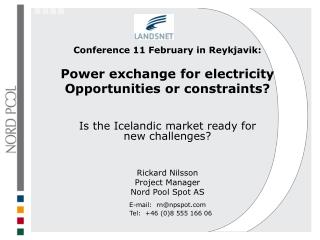 Conference 11 February in Reykjavik: Power exchange for electricity Opportunities or constraints?