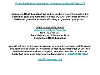 Vermont at Brigham Young live | ncaa mens basketball | Sport