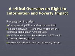 A critical Overview on Right to Information and Poverty Impact