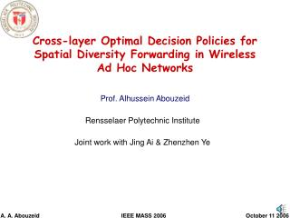 Cross-layer Optimal Decision Policies for Spatial Diversity Forwarding in Wireless Ad Hoc Networks