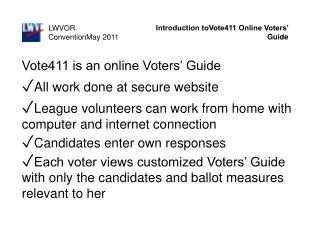 Introduction toVote411 Online Voters' Guide