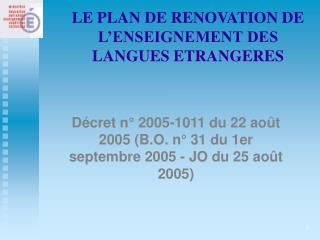 LE PLAN DE RENOVATION DE L'ENSEIGNEMENT DES LANGUES ETRANGERES
