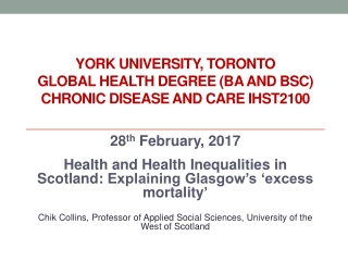 York University, Toronto Global Health degree (BA and BSc) Chronic Disease and Care IHST2100