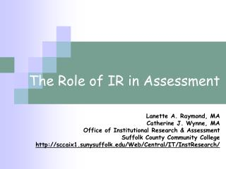 The Role of IR in Assessment