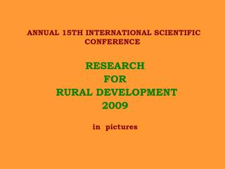 ANNUAL 15TH INTERNATIONAL SCIENTIFIC CONFERENCE