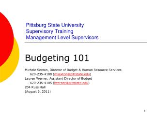 Pittsburg State University Supervisory Training Management Level Supervisors