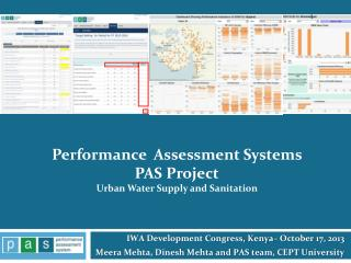 Performance  Assessment Systems   PAS Project Urban  Water Supply and Sanitation