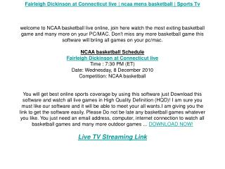 Fairleigh Dickinson at Connecticut live | ncaa mens basketba