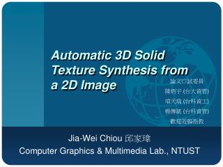 Automatic 3D Solid Texture Synthesis from a 2D Image
