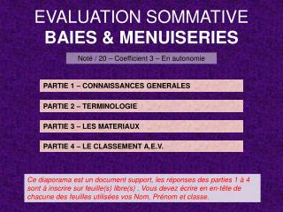 EVALUATION SOMMATIVE BAIES & MENUISERIES