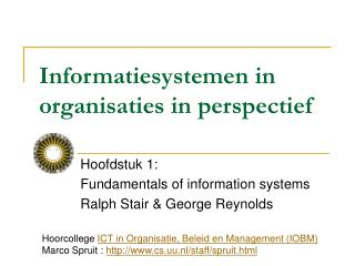 Informatiesystemen in organisaties in perspectief