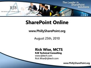 SharePoint Online www.PhillySharePoint.org August 25th, 2010
